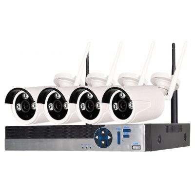 4 Channel 720P Wireless Security Camera System 1 x Wifi Nvr 4 x 1.0MP Wifi Ip Camera with Night Vision