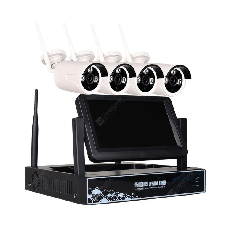 4 Channel 960P Wireless NVR Kit 7 inch LCD WiFi NVR 4 x 1.3MP WiFi IP Camera with Night Vision