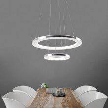 Everflower Modern LED Pendant Hanging Light Fixture Ceiling Chandelier Two Rings Fixture