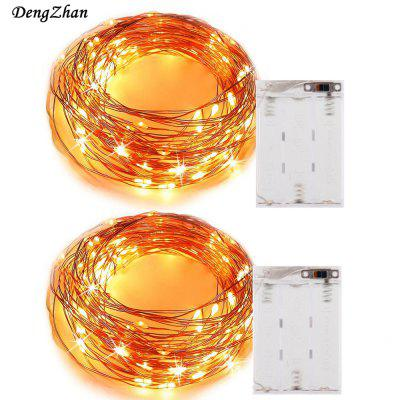 Buy WARM WHITE LIGHT 2PCS 5M 50LED 3AA 4.5V Battery Powered Waterproof Decoration LED Copper Wire Lights String for Christmas Festival Wedding Party for $10.21 in GearBest store
