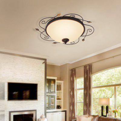 Jueja Iron Border Glass Lampshade 3 E27 Lamp Base 18 Inch Home Ceiling Light Pendant Chandeliers