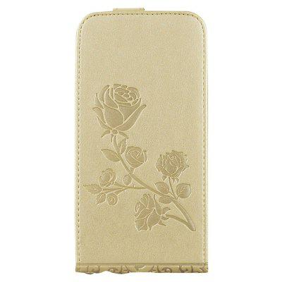 Buy GOLDEN Embossed Rose Flower Pattern Vertical Flip Leather Case with Card Slot for Iphone 8 for $4.21 in GearBest store