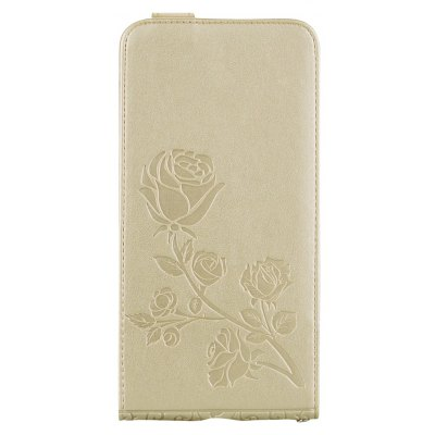 Buy GOLDEN Embossed Rose Flower Pattern Vertical Flip Leather Case with Card Slot for Iphone 8 Plus for $4.21 in GearBest store