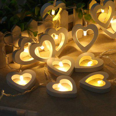 10PCS Led Christmastree Wooden Loving Heart String Lights Decorative Colored Lights