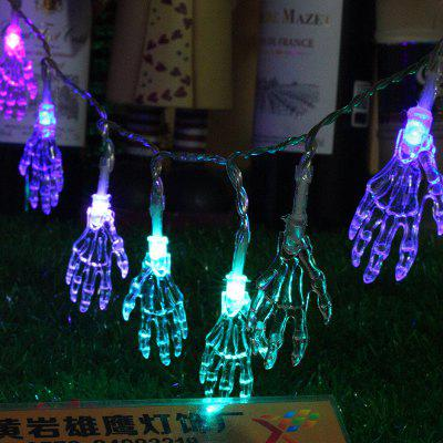 10-LED Halloween Crânio Cordas de Luzes Lâmpada Colorida Decorada