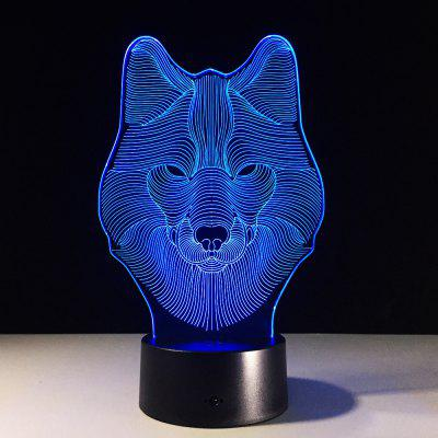 Yeduo Animal Wolf Decor 3D Led Nightlights Colorful Wolf Design Table Lamp Teen Wolf Illusion Lights Bedroom Modern Deco