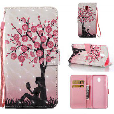 Plum Tree Girl 3D Painted Pu Phone Case for Samsung Galaxy J730