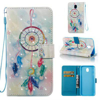 Feather Wind Chimes 3D Painted Pu Phone Case for Samsung Galaxy J730