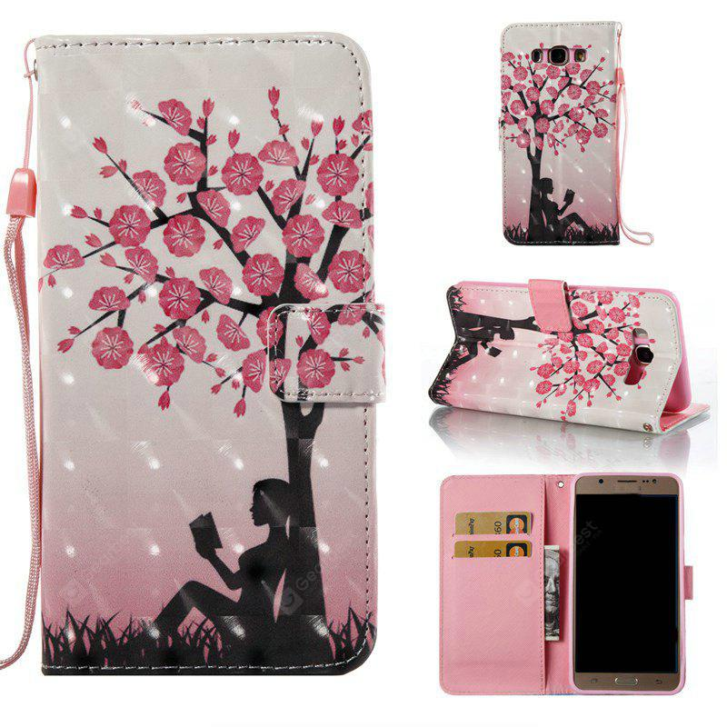 Plum Tree Girl 3D Painted Pu Phone Case for Samsung Galaxy J7 2016