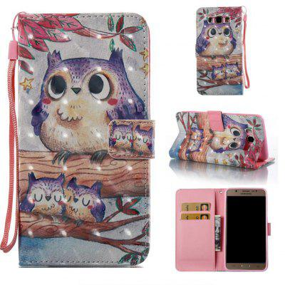 Purple Owl 3D Painted Pu Phone Case for Samsung Galaxy J7 2016