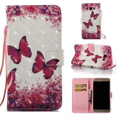 Rose Butterfly 3D Painted Pu Phone Case for Samsung Galaxy J7 2016