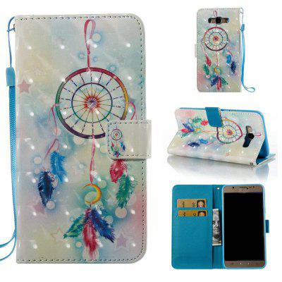 Feather Wind Chimes 3D Painted Pu Phone Case for Samsung Galaxy J7 2016