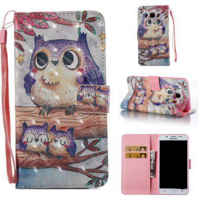 Purple Owl 3D Painted Pu Phone Case for Samsung Galaxy J5 2016