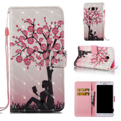 Plum Tree Girl 3D Painted Pu Phone Case for Samsung Galaxy J5 2016