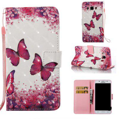 Rose Butterfly 3D Painted Pu Phone Case for Samsung Galaxy J5 2016