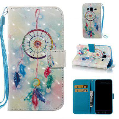 Feather Wind Chimes 3D Painted Pu Phone Case for Samsung Galaxy J3 J3 2016