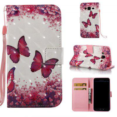 Rose Butterfly 3D Painted Pu Phone Case for Samsung Galaxy J3 J3 2016