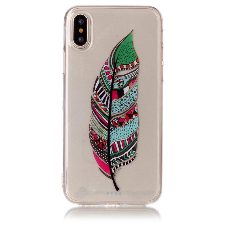Tpu Matériel Feather Pattern Hd Phone Case Iphone x