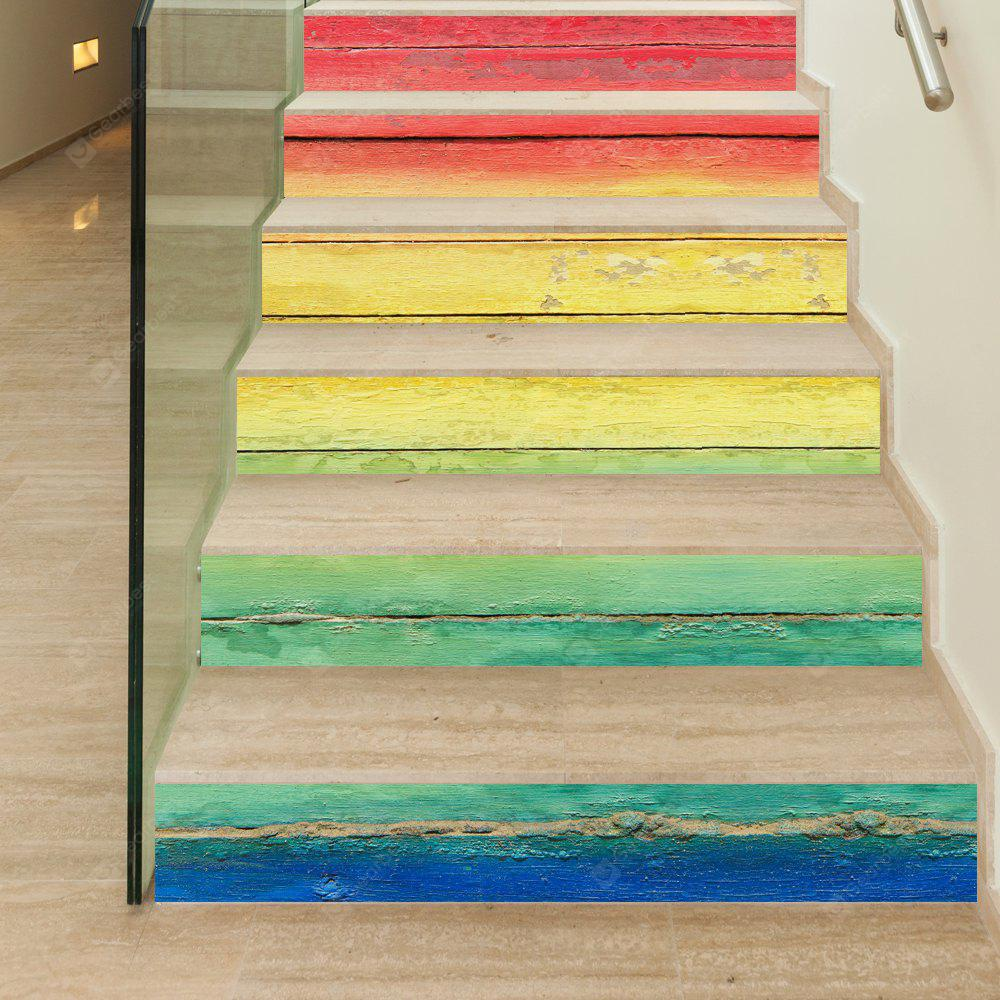 Rainbow Wooden Style Stair Sticker Wall Decor - $16.64 Free Shipping ...