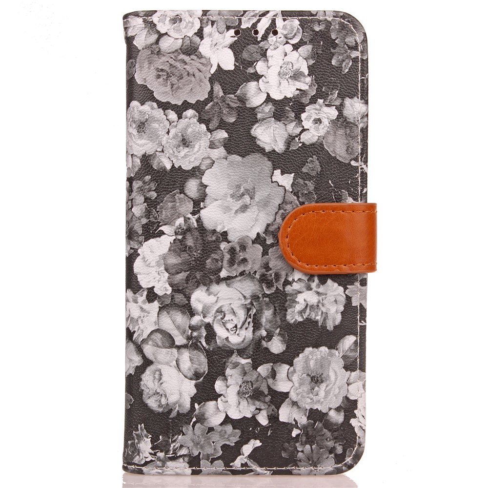 Yc Ink Painting Flowers Double Card Lanyard Pu Leather pour Samsung S8