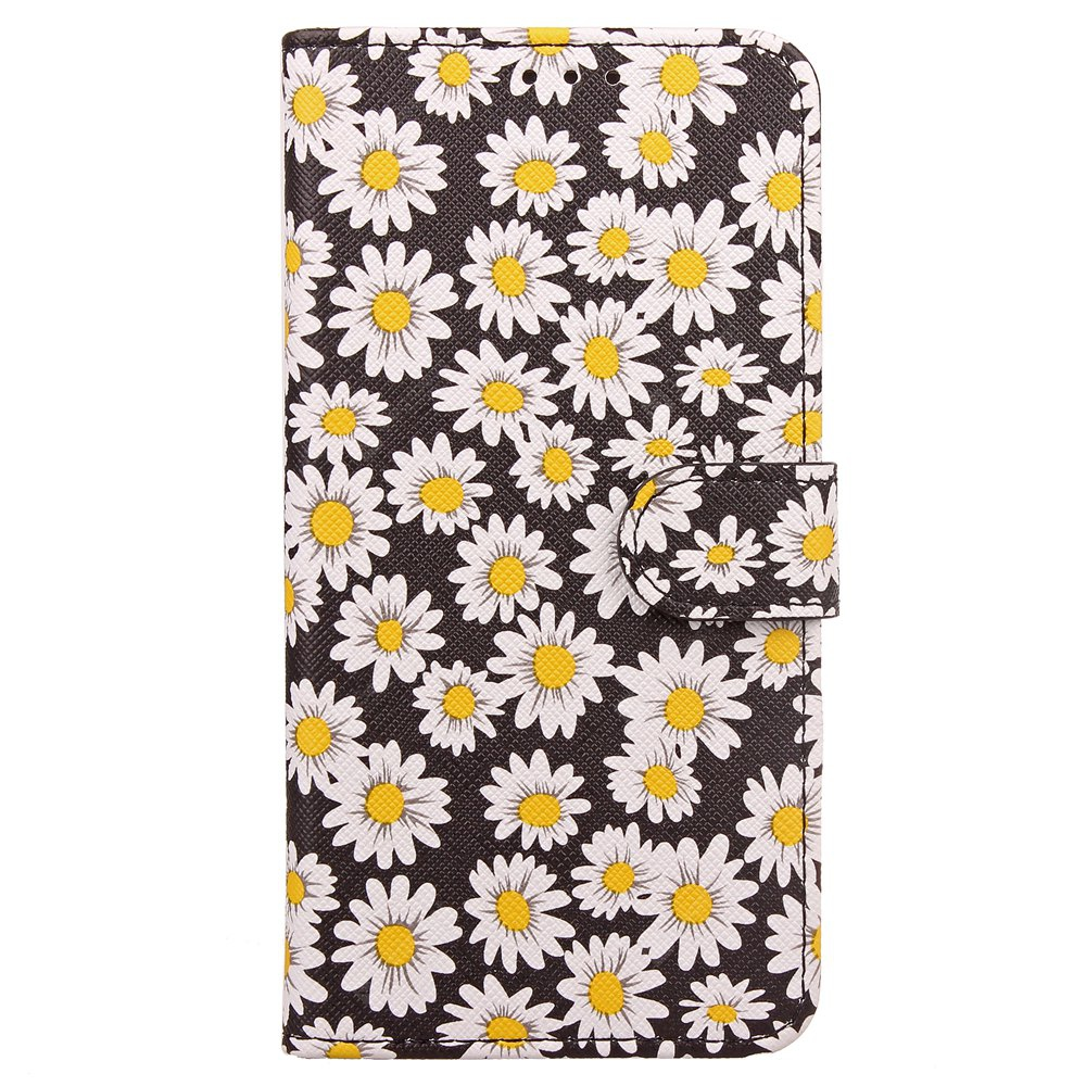Yc Chrysanthemum Painting Double Card Lanyard Pu Leather pour Samsung S8