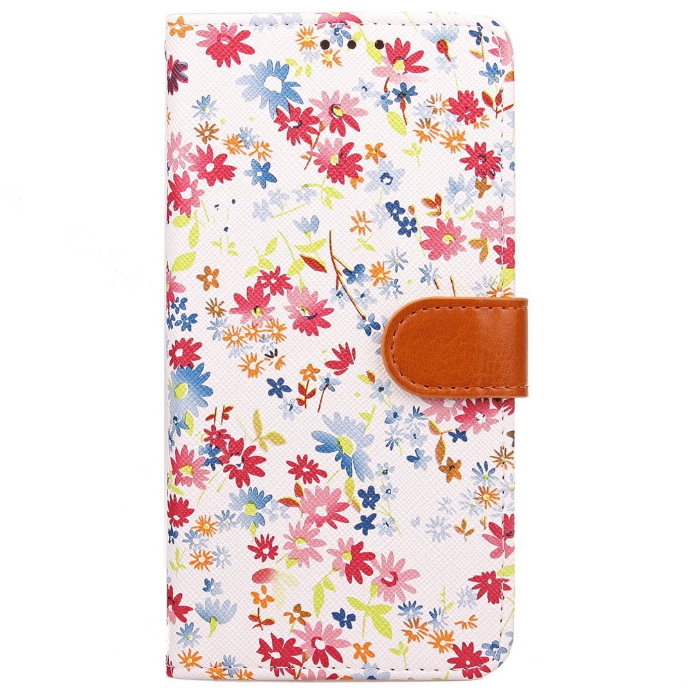 Yc Small Floral Paint Double Card Lanyard Pu Leather pour Samsung S8