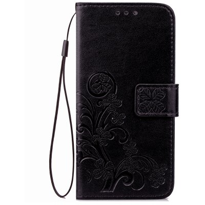 Yc Lucky Clover Holster Leaf Card Lanyard Pu Leather pour Samsung C5