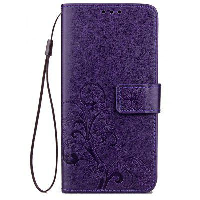Yc Lucky Clover Holster Leaf Card Lanyard Pu Leather for Samsung C5