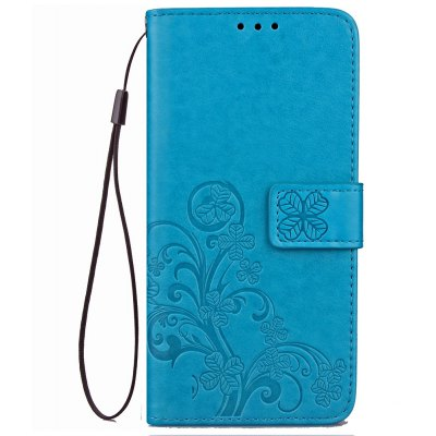 Yc Lucky Clover Holster Leaf Card Lanyard Pu Leather for Samsung C7 Pro
