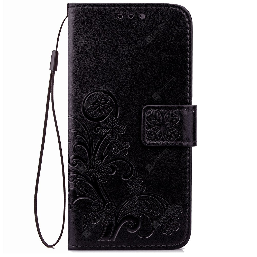 Yc Lucky Clover Holster Leaf Card Lanyard Pu Leather pour Samsung C7 Pro