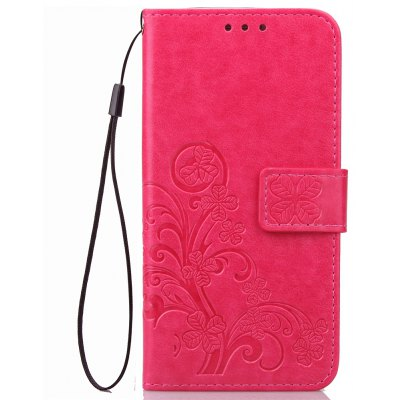 Yc Lucky Clover Holster Leaf Card Lanyard Pu Leather for Samsung C7