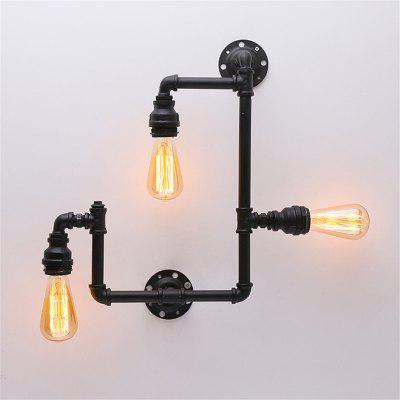 Buy BLACK Brightness Vintage Industrial Pipe Creative Wall Lights for Restaurant Cafe Bar Decoration with 3 Painted Finish 110 120V for $82.51 in GearBest store