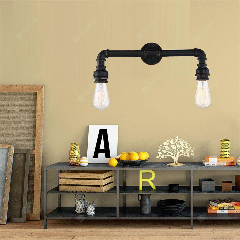 BLACK Brightness 2-branch Retro Industrial Water Pipe Wall Light for Decor 220 240