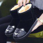 Cartoon Cat Embroidered Snow Boots - BLACK