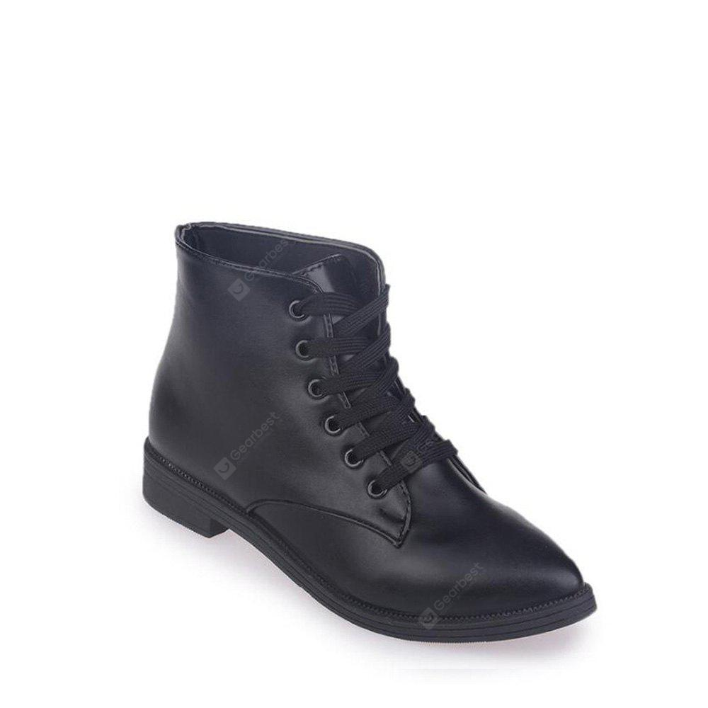 Solid Color Lace-Up Flat Ankle Boots