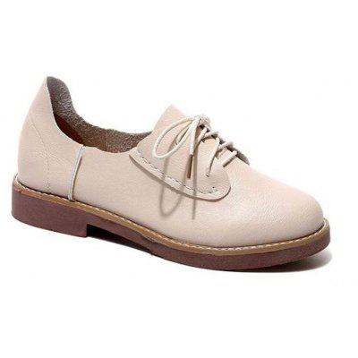 Solid Color Lace-Up  Flat Oxford Shoes
