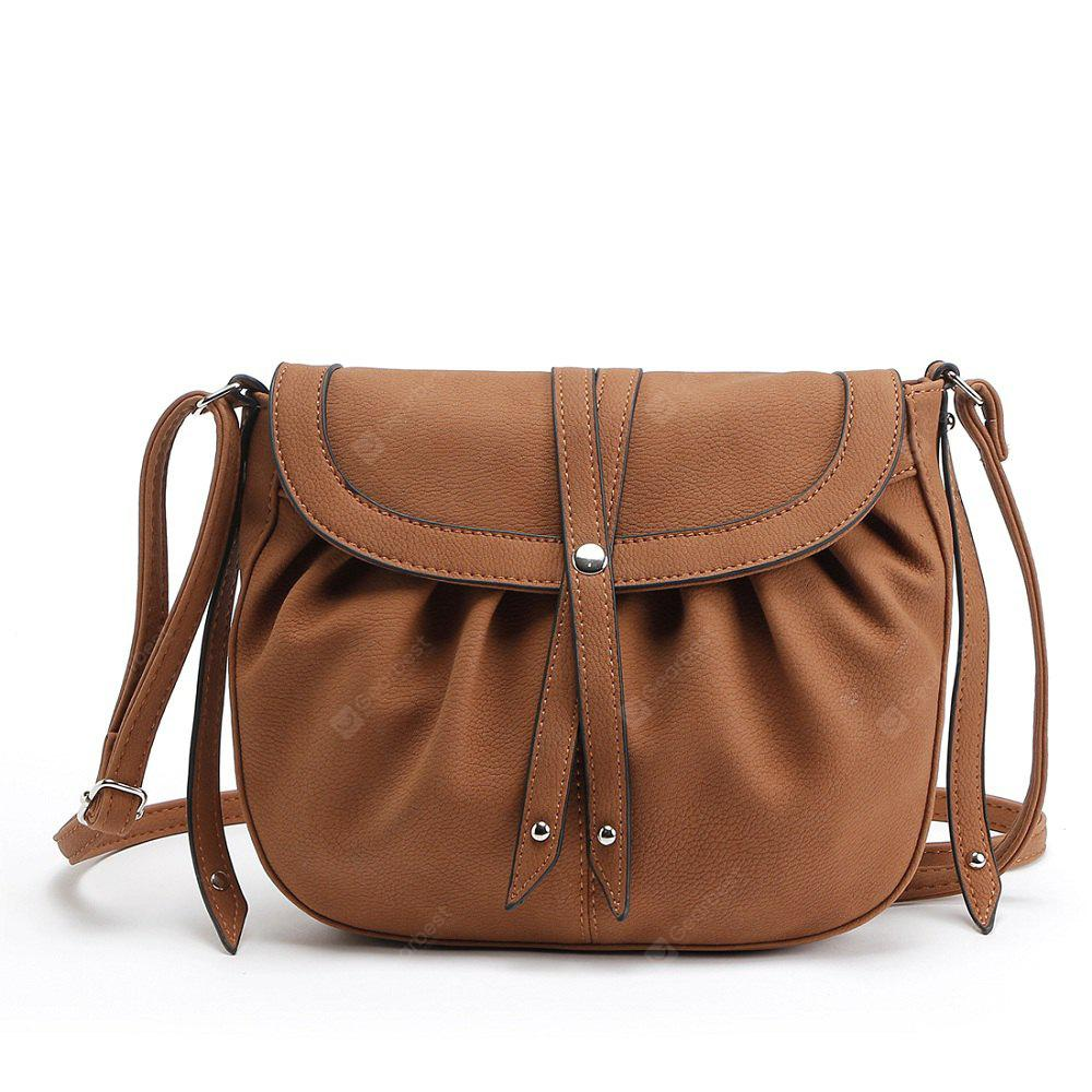 BROWN 1PC Auhwone Women Small Crosbody Messenger Bags Pu Leather Saddle Bags Ladies Shoulder Bags Female Vintage Bag Bolsas Feminina
