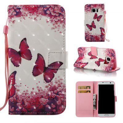 Rose Butterfly 3D Painted Pu Phone Case for Samsung Galaxy S7 Edge