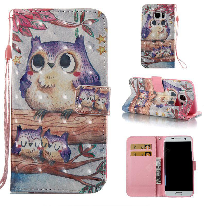 Purple Owl 3D Painted Pu Phone Case for Samsung Galaxy S7 Edge