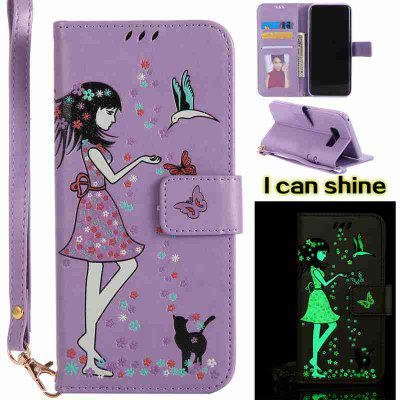 Buy LIGHT PURPLE Women Cat Luminous Painted Pu Phone Case for Samsung S8 Plus for $7.31 in GearBest store