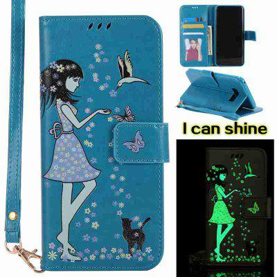 Buy CORNFLOWER Women Cat Luminous Painted Pu Phone Case for Samsung S8 Plus for $7.31 in GearBest store
