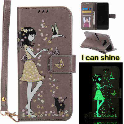 Buy OYSTER Women Cat Luminous Painted Pu Phone Case for Samsung S8 Plus for $7.31 in GearBest store