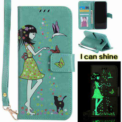 Buy FERN Women Cat Luminous Painted Pu Phone Case for Samsung S8 Plus for $7.31 in GearBest store