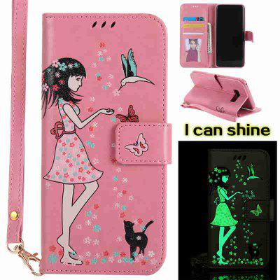 Buy PINK Women Cat Luminous Painted Pu Phone Case for Samsung S8 Plus for $7.31 in GearBest store