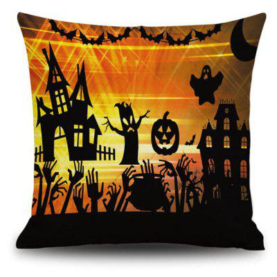 Happy Halloween Pumpkin Square Linen Decorative Throw Pillow Cushion Cover