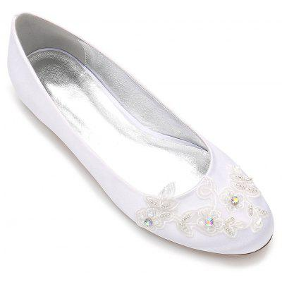 Buy WHITE 43 Womens Wedding Shoes Comfort Ballerina Spring Summer Satin Wedding Party evening Dress Rhinestone Applique Beading Satin Flower for $48.73 in GearBest store