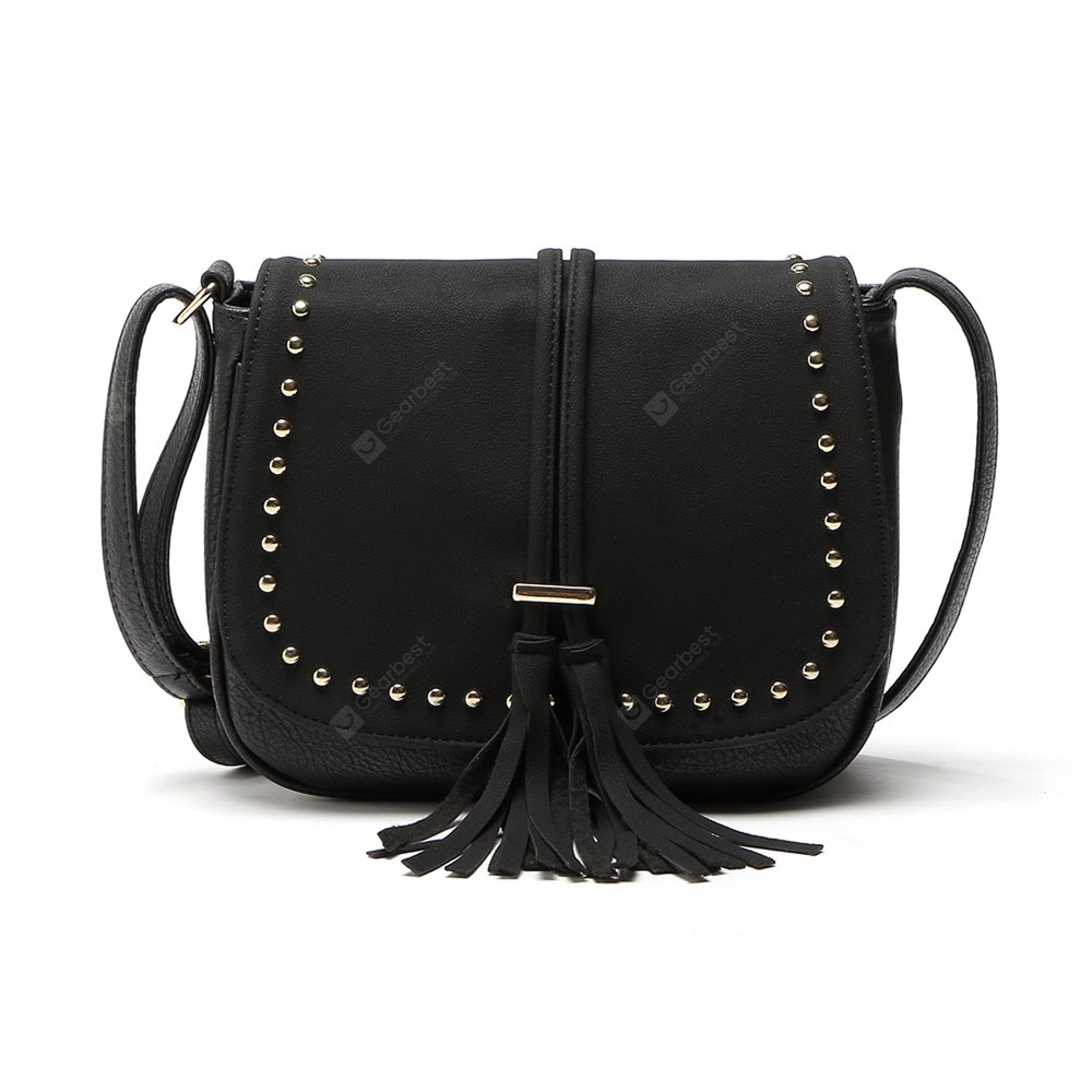 BLACK 1PC Women Vintage Tassel Bag Pu Leather Messenger Bag Rivet Crossbody Shoulder Bags Women Handbag Bolsas Femininas Hand Bags