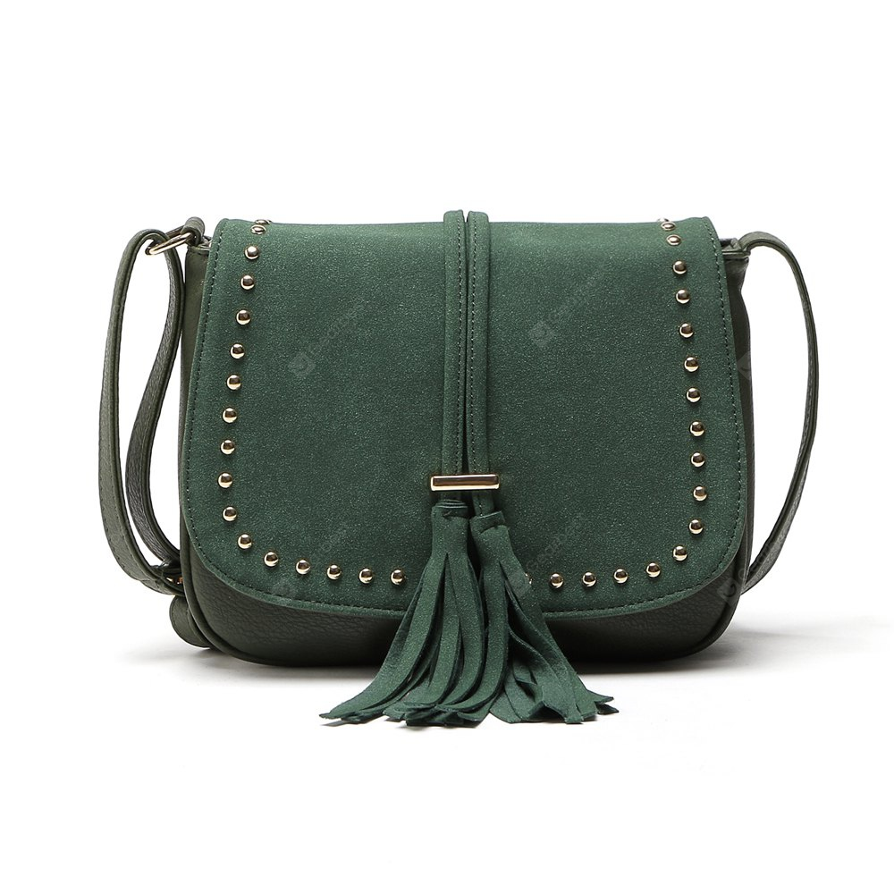 ARMY GREEN 1PC Women Vintage Tassel Bag Pu Leather Messenger Bag Rivet Crossbody Shoulder Bags Women Handbag Bolsas Femininas Hand Bags