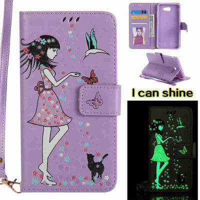 Buy LIGHT PURPLE Women Cat Luminous Painted Pu Phone Case for Samsung Galaxy J7 2017 for $7.11 in GearBest store