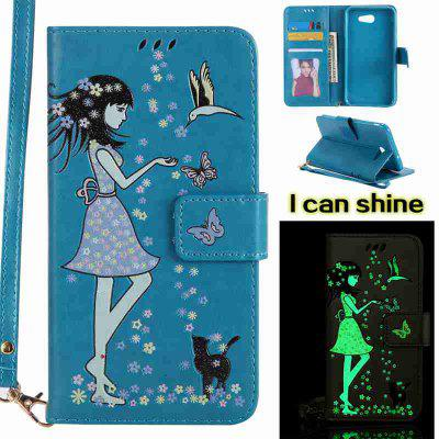 Buy CORNFLOWER Women Cat Luminous Painted Pu Phone Case for Samsung Galaxy J7 2017 for $7.11 in GearBest store